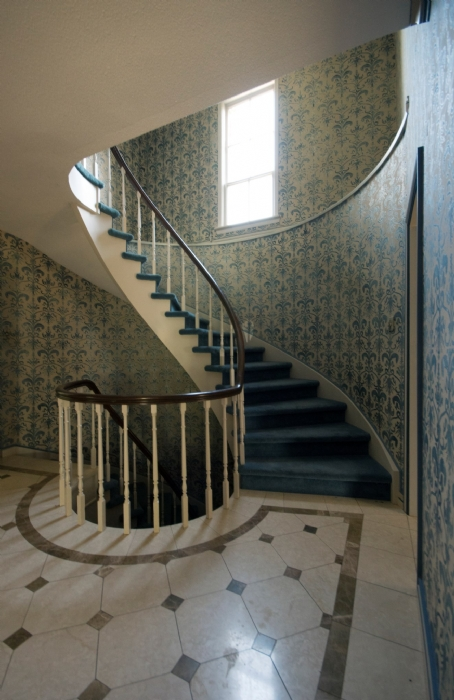 blue staircase abandoned mansion Ontario