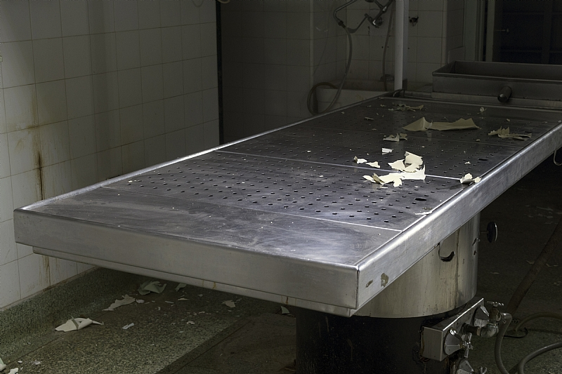 autopsy table in abandoned Ontario St. Catherine's Hospital
